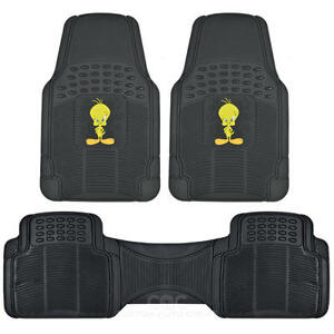Tweety Bird Rubber Floor Mats Car 3 PC Front Heavy Duty All Weather Protection
