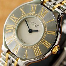 Authentic Must De Cartier 21 Century Gold Plated Quartz Ladies Wrist Watch