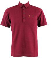Farah Vintage Lester Polo T Shirt Bordeaux Burgundy  Ship internationally