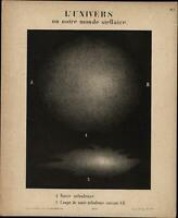 Celestial print Notre nebula stars astronomy galaxy c.1850 old print