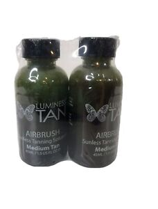 Luminess Tan Airbrush Medium Tan Sunless Tanning Solution 1.5 Oz Each. Lot Of 2