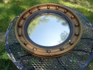 Antique Federal Convex Mirror Rare 16 Ball c1796-1803 Gold Giltwood No Eagle