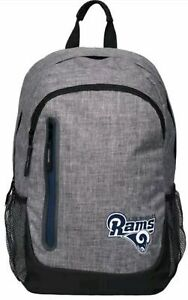 Los Angeles Rams BackPack Back Pack Book Sports Gym School Bag NEW Heather Grey