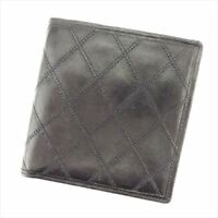 Chanel Wallet Purse Bifold Black leather Woman unisex Authentic Used T8755
