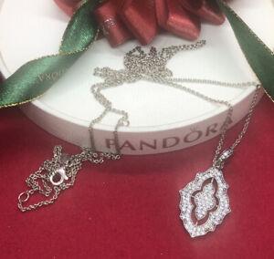 Pandora Sparkling Classic Lace Pendant Necklace 390362cz 90cm Genuine Rare