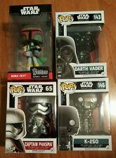 4 Funko Pop Star Wars Captain Phasma Boba Fett & Rogue One's Darth Vader & K-2SO