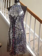 Versace Amazing Metallic Silver Sequin Cocktail Dress New with Tags SZ US6/ IT42
