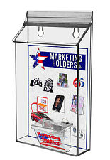 "Clear Acrylic Outdoor Wall Mount Bi-Fold with Business Card Holder holds 6"" Wide"