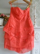 Reiss Coral Pink Silk & Linen Layered Dress UK 12 *STUNNING* Prom Wedding Party