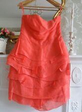 Reiss Coral Pink Silk & Linen Layered Dress UK 12 *STUNNING* Prom Wedding Party
