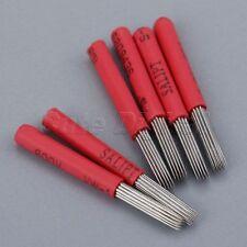 50Pcs Microblading Blade Permanent Makeup Eyebrow Tattoo 19 Round Needles Red