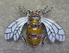 AUSTRIAN CRYSTAL AMBER SILVER TONE BUG BEE BROOCH PIN WHITE WING
