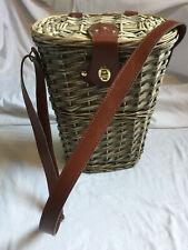 More details for vintage wicker woven wine picnic basket with shoulder straps