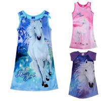 NWT Children Kids Girls Sleeveless Long Casual Summer Cotton Dress Clothes 4-12Y