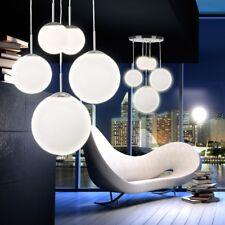 Suspension 5 boules verre opale satiné plafonnier éclairage salle de séjour
