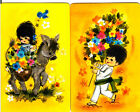 Vintage Swap/Playing Cards- 2 SINGLE - CUTE LITTLE KIDS & DONKEY