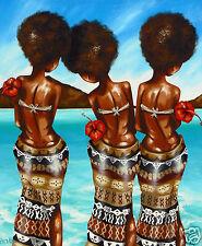 fiji island beach tropical COA palm tree andy baker painting original print art