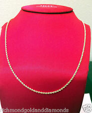 Ladies Womens 10k Yellow Gold Necklace Hallow Rope Chain 2mm 22 inch Hollow