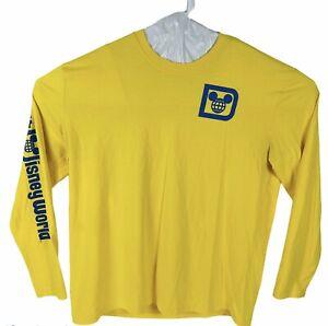 Disney Parks Walt Disney World Yellow Long Sleeve Blue Spell out T Shirt XXL
