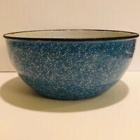 "Granite Ware Enamelware Blue Speckled Vintage 9"" Mixing Bowl"