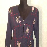 Susan Bristol Cardigan Sweater Hand Embroidered Blue Flowers Floral Size Small