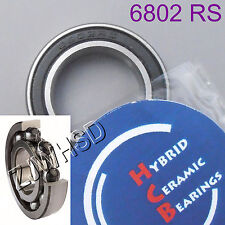 6802 2rs Si3n4 Hybrid Ceramic Ball Bearing Rubber 15 X 24 X 5mm