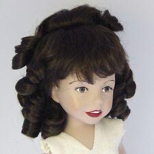 Perruque 27/29cm châtain pour poupée porcelaine ancienne et moderne. Doll wig