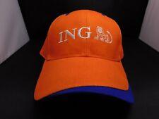 ING - BASEBALL / GOLF CAP - NEW - ORANGE - RETRO - STRAP BACK - ADJUSTABLE
