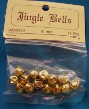 Package Lot of 14 Brass Jingle Bells 10mm - For Crafts NIP