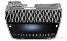 Audi A4 B7 2005-2008 Black & Chrome Grille RS Look w/ Sensor Hole Honeycomb