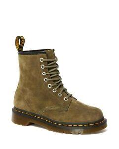 Dr Martens 1460 Womens Grenade Green Suede Boots UK 4