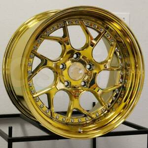 18x8.5/18x9.5 Aodhan DS01 DS1 5x100 35/35 Gold Vacuum Wheels Rims Set(4) 73.1