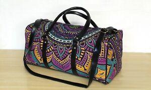 100%Cotton Mandala Indian Duffel Carrier Bag & Adjustable Strap Luggage bag New