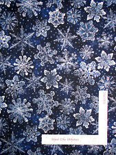 Christmas Snowflake Dark Blue Silver Cotton Fabric RJR 1557 Holiday Accents Yard