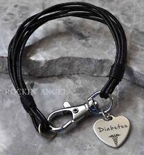 Black Leather Wristband Bracelet Diabetes Diabetic Medical Alert Charm Awareness