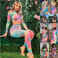 UK Womens Multicolor Crop Top Mini Skirt Set Ladies Holiday Party Tie-dyed Dress