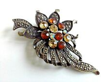 Vintage Amber Resin Crystal Rhinestone & Bronze Tone Floral Bouquet Brooch #J115