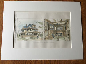 House for M K Green, Jamaica Plain, Boston, MA, 1896, Hand Colored Original