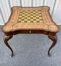 Maitland Smith Leather Top Game Chess Checkers Table Four Drawers & Cup Holders