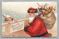 Santa Claus w Toy Sack—Clapsaddle—Antique Artist-Signed Postcard—Snow Embossed