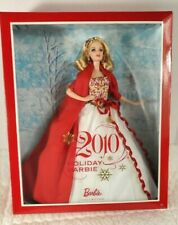 NEW 2010 Holiday Barbie Doll Collector Blonde Hair Red White Dress Mattel #R4545