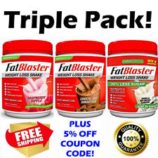 Fat Blaster Weight Loss Diet Shake Chocolate Vanilla Raspberry Mocha TRIPLE PACK