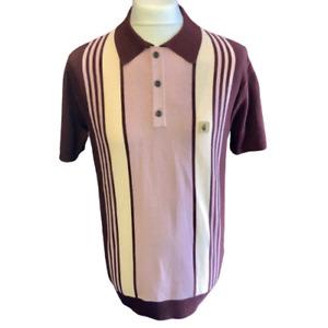 Gabicci Vintage V46GM00 Searle Oxblood Knitted Polo Shirt ,Mod,60s,70s,SALE