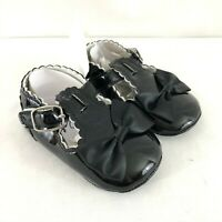 Baby Girls Mary Jane Flats Shoes Faux Leather Bow Dressy Black Size 6-12 Months
