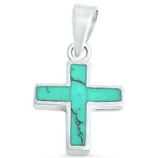 Green Turquoise Cross .925 Sterling Silver Pendant