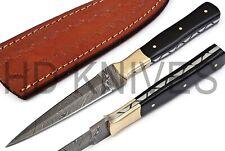 CUSTOM Damascus STEEL DOUBLE EDGE DEGGER HUNTER BOOT KNIFE BULL HORN HANDLE X190