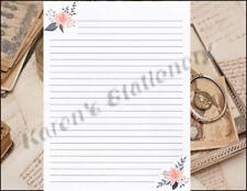 Floral Connor Design Lined Stationery Set 25 sheets & 10 envelopes 8.5 X 11