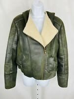 Guess LA Womens Motto Jacket Size Large Green Brown Fleece Liner