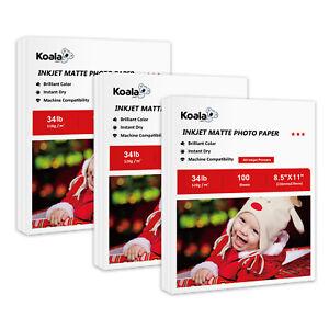 300 Sheets Koala Premium Matte 34lb Inkjet Printer Paper 8.5x11 Photo HP Epson