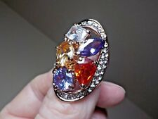 Style Stones & Colors See Descrip Beautiful Goldtone Metal Fashion Ring W/Multi